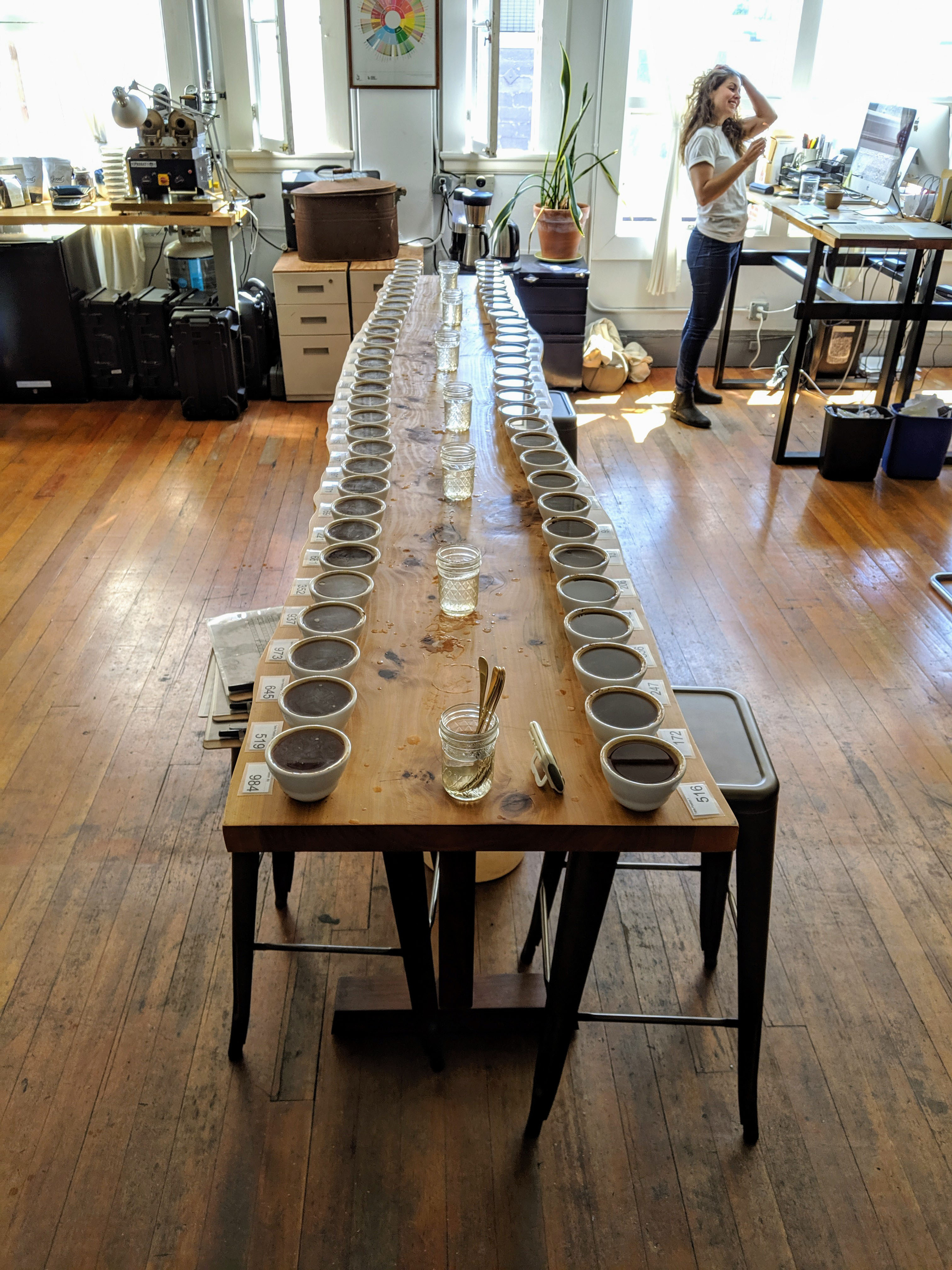About to cup a large table in the Berkeley lab.
